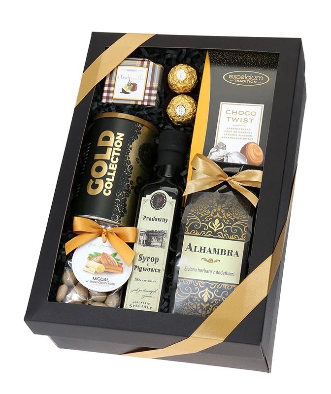 Zestaw prezentowy GOLD bez alkoholu w czarnym pudełku ze słodyczami uniwersalny dla mężczyzny upominek z kawą i herbatą